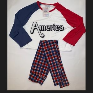 "Lularoe Set Randy M Top - OS Pants NWT ""America"""
